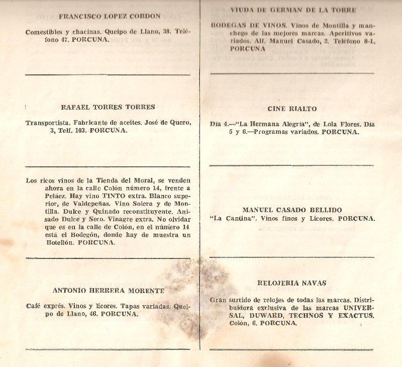 programa feria porcuna 1956